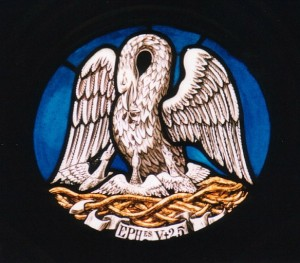 (A pelican, a traditional Christian symbol for Christ, since the pelican was supposed to feed its young with its own blood).