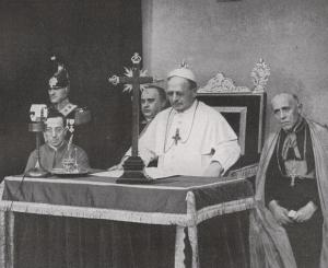 Pope Pius XI at the opening of the Vatican radio on February 12, 1931. Public Domain.