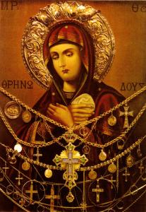 An icon of the Theotokos (c.1860-1880) by Deacon Ioasaf Athonites. Public Domain.