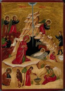 A modern Romanian icon of the Nativity. Source.