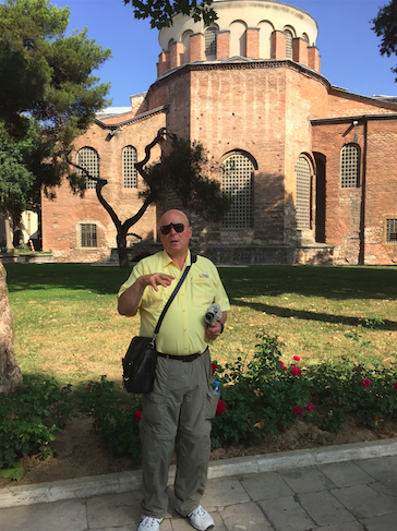 Talking creeds in front of St Eirene.