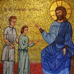 Mosaic of Christ blessing the children, Saint Demetrios Greek Orthodox Church, Seattle, Washington (photo by Joe Mabel, Flickr).