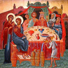 Icon of the wedding feast at Cana