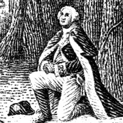 woodcut of Washington at prayer