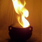 flaming cauldron