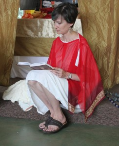 Tesa Morin preparing to portray Isis at our Egyptian Summer Solstice