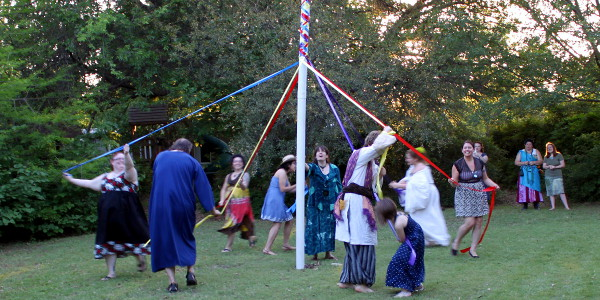 dancing the Maypole at Beltane - 2014