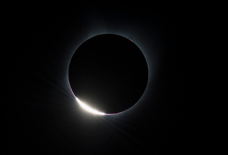 August 21 eclipse above Madras, Oregon – photo credit: NASA/Aubrey Gemignani