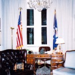 In the office, the desk of the U.S. Ambassador to the Holy See
