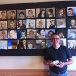 Owen Swain with his work, Saints, Sung and Unsung