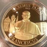 One of many commemorative coins which honor the election of Pope Francis
