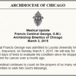 Cardinal George - medical update