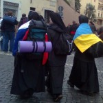 Backpacking nuns attending the Beatification of Pope John Paul II in May 2011 (Photo:  Kathy Schiffer)