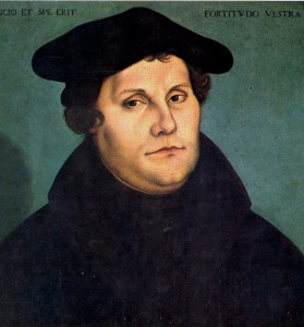 MARTIN LUTHER, 1529 by Lucas Cranach the Elder [Public domain], via Wikimedia Commons