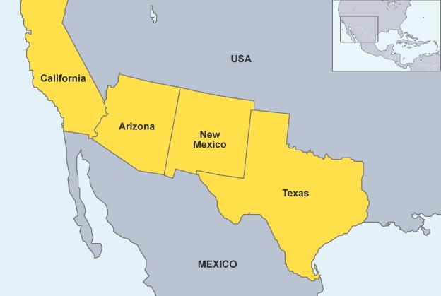 U.S.Mexico-map
