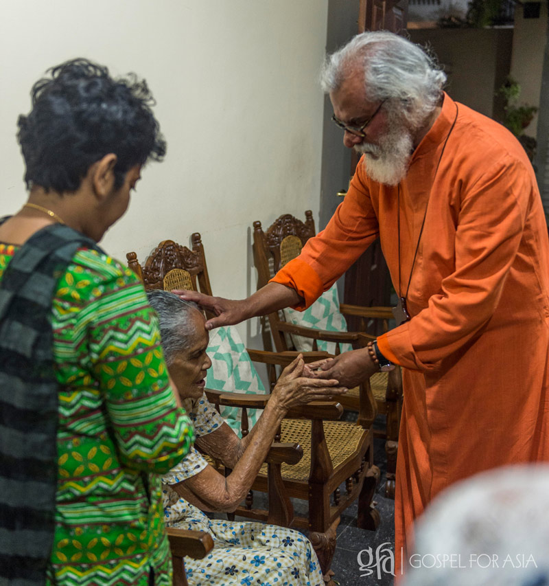 Dr. KP Yohannan visiting a staff's grandmother