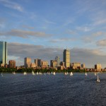 Boston, Charles River, skyline, sailboats