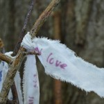 "photo of a prayer flag reading ""love"" tied to a branch"