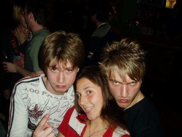 Me with two friends at the height of my Nice Guy period. The guy on the right is the one who will never let me live down my drunken outburst.