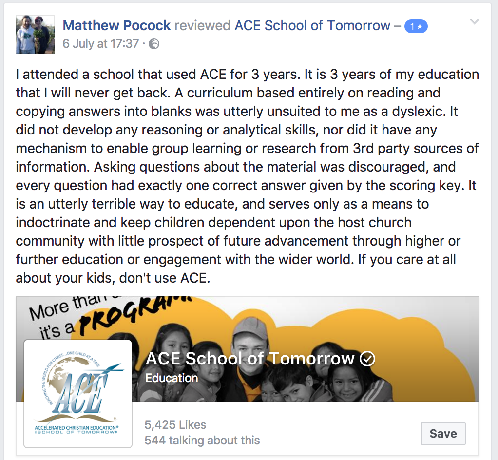 Matthew Pocock ACE review