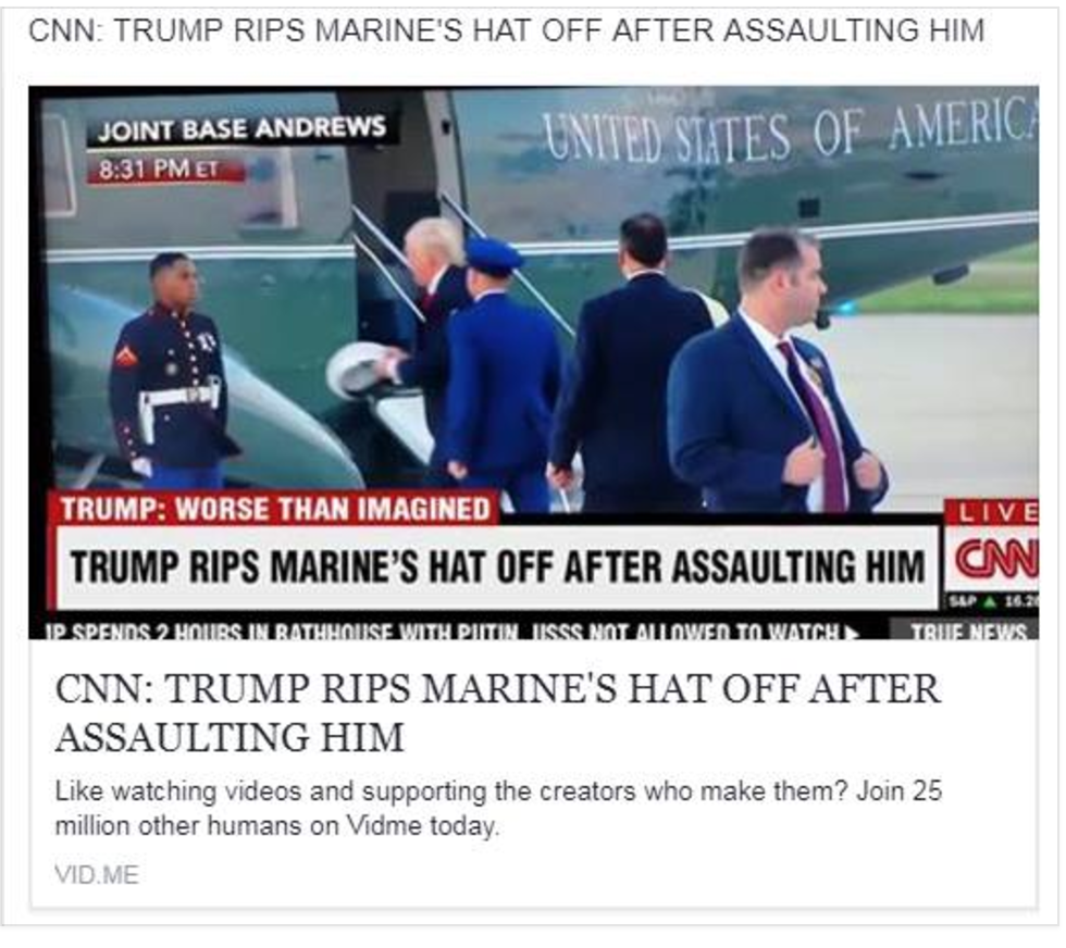 Fake CNN screenshot. Not real, purporting to show CNN reporting