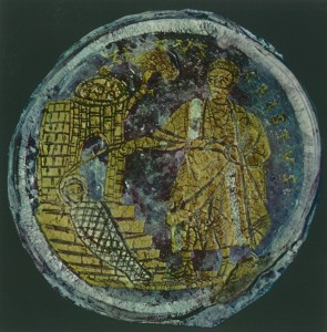 The raising of Lazarus, gold glass, 3rd-5th century. Image is in the public domain.