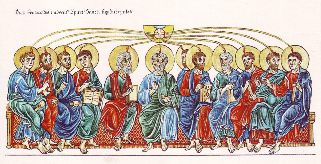 A depiction of Pentecost from Herrad of Landsberg's Hortus Deliciarum, 12th century. Image in the public domain.