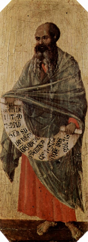The prophet Malachi, Duccio di Buoninsegna, Sienna Cathedral, 1310. Image in the public domain, taken from Wikipedia.