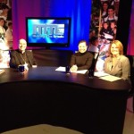 "On the set of ""Making the Grade"" with Bishop Armando X. Ochoa of the Diocese of Fresno, and my co-host Kim Cochran"