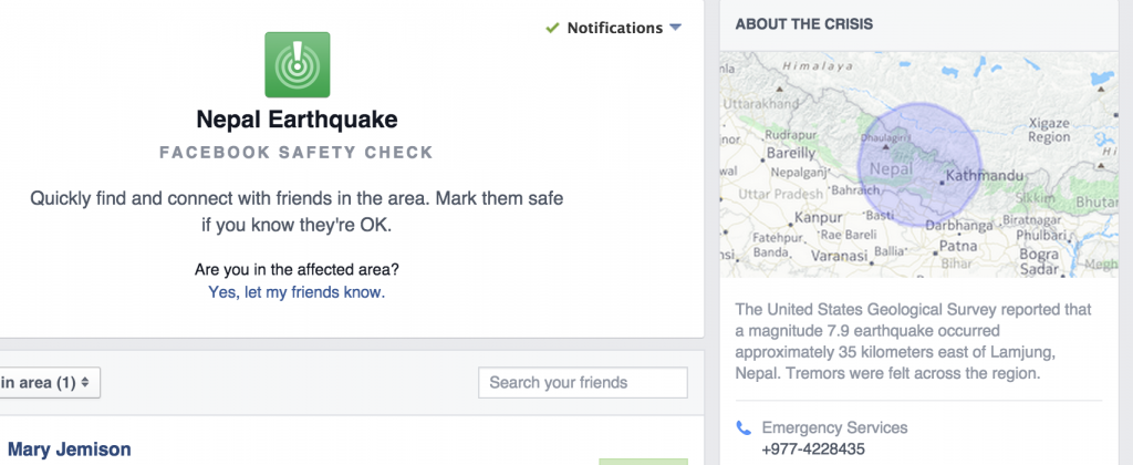 Screen capture of Facebook Safety Check system announcement for Nepal Earthquake
