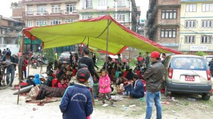 People staying in an open public space in Patan, Kathmandu, Nepal after a 7.8 magnitude earthquake struck Nepal and India on April 25, 2015. CRS, Caritas and its local partners are responding with much needed relief in the affected areas. Photo courtesy of Caritas Australia, used with permission
