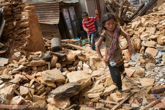A 7.8 magnitude earthquake struck Nepal and India on April 25, 2015. CRS, Caritas and its local partners are responding with much needed relief in the affected areas. Photo by Jake Lyell for Catholic Relief Services, used with permission