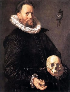Portrait of a man holding a skull, by Frans Hals (1615), via Wikimedia Commons