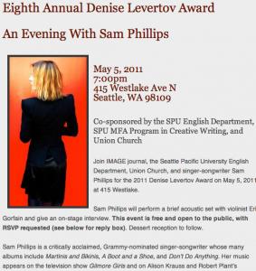 Levertov Award - Sam Phillips