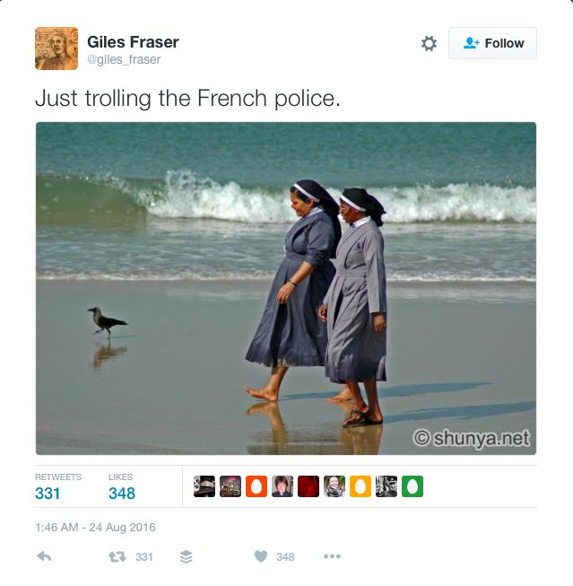 Nuns on beach