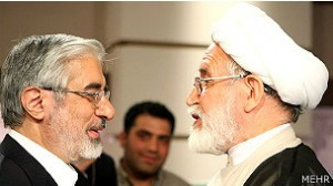 Mousavi and Karroubi during presidential debates.