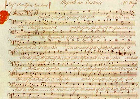 "A portion of the Messiah in Handel's own hand. It is the chorus in Part 1 that begins: ""And the glory of the Lord shall be revealed."""