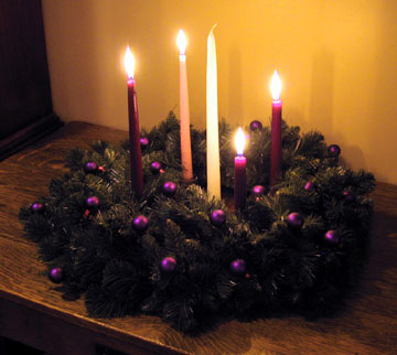 My Advent wreath at home, after the fourth Sunday of Advent and before Christmas