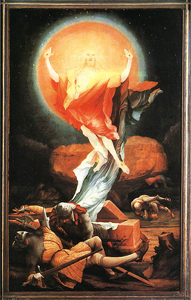 A painting of the resurrection of Christ by Matthias Grünewald, c. 1515. I changed the shape a bit to fit this space. This was originally an altarpiece for the Monastery of St. Anthony in Isenheim [once in Germany], now France. Today it is in the Unterlinden Museum in Colmar, France.