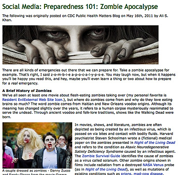 Centers for Disease Control: Be Prepared for a Zombie Apocalypse