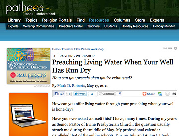 My Newest Preachers Portal Column: Preaching Living Water When Your Well Has Run Dry