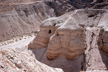 Cave 4 at Qumran, the source of many of the Dead Sea scrolls. This picture used by permission of HolyLandPhotos.org, an outstanding website of photos of biblical sites.