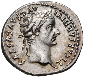 This is the kind of coin that Jesus used to make his point about giving to Caesar what is owed to Caesar, and to God what is owed to God. Curiously, the Latin around the head of Tiberius Caesar reads TI CAESAR DIVI AUG F AUGUSTUS, or Tiberius Caesar Divi Augusti Filius Augustus, in English, Augustus Tiberius Caesar the Son of the Divine Augustus. Photo from http://www.cngcoins.com/Coin.aspx?CoinID=179249.