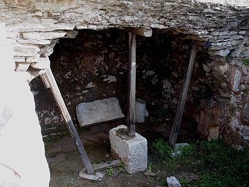 An actual remnant of a jail in ancient Philippi. Some think this was the very jail in which Paul and Silas were incarcerated, though there is no way to prove it one way or the other. Photo used by permission from holylandphotos.org.