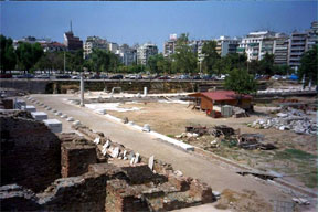The agora (marketplace) of ancient Thessalonica as it looks today. Picture thanks to HolyLandPhotos.org.