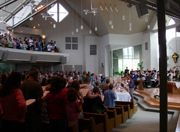 A worship service at Irvine Presbyterian Church