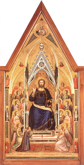 GIOTTO di Bondone, The Stefaneschi Triptych: Christ Enthroned, c. 1330, Tempera on panel, Pinacoteca, Vatican