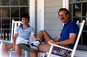 A picture of my wife and me around the time of my story. Yes, I was wearing those giant glasses and that stylish moustache. And, yes, I was wearing shorts that short. I'm glad some things change, though I'd be happy to have all that brown hair again.