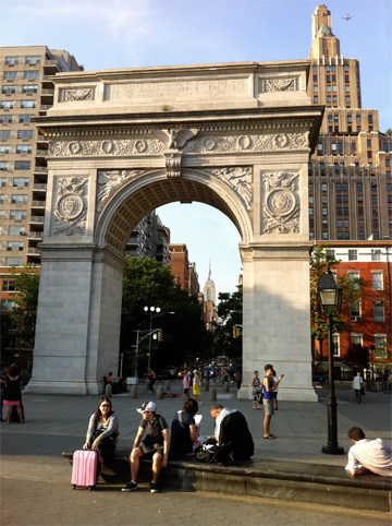 "The Washington Square Arch, through which you can see the Empire State Building, the ""campus"" of The King's College"