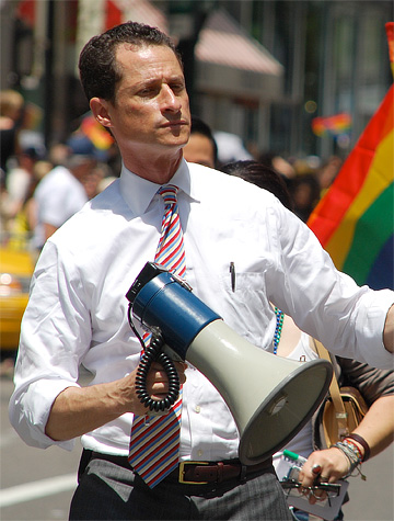 Anthony Weiner with a megaphone. Perhaps he should have stuck to simpler technologies.